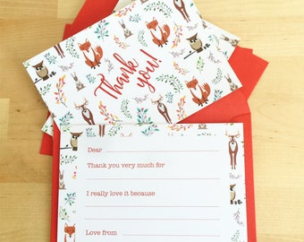 Kids Christmas THANK YOU Cards, Christmas fill the blanks thank you postcards for kids, multipack thank you cards, Woodland cards