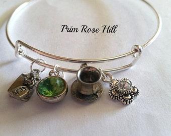 GREEN TEA adjustable bangle bracelet with charms