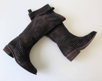 Brown Suede Knee Boots, Brown Cutout Suede Boots  ,  Leather Cutout bootie , Brown Nubuck Boots,  Size Us 4,5-5 , Eur 35, UK 2,5-3