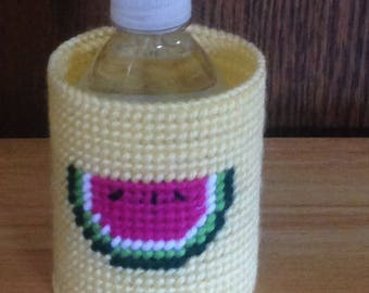 Watermelon Can & Bottle Can Cooler, Plastic Canvas, Watermelon Birthday,  Needlepoint Gift, Gift for Him, beverage insulator, Summer Item