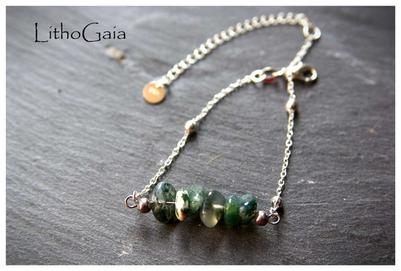 Moss Agate Bar Bracelet or Anklet on Silver 925, Zodiac Birthstone gifts for her, Moss agate Beads Anklet, Gemstone bracelet jewelry,