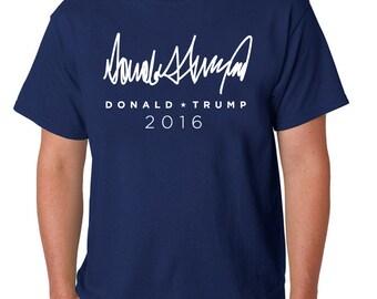 Trump for President 2016 Donald Trump Signature Men's Crew Neck T-Shirt FREE SHIPPING!