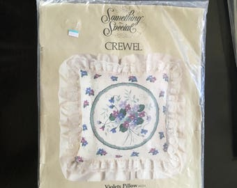 "1980s Something Special CREWEL PILLOW KIT - Violets Pillow - 14"" X 14"" plus Ruffle - Unopened Kit contains everything you need!"