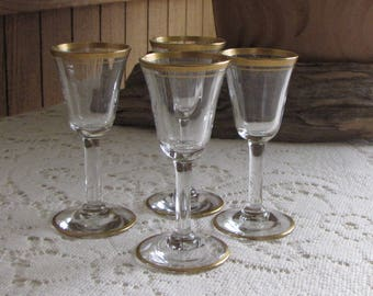 Gold Trimmed Cordial Glasses Set of Four (4) Vintage Bar and Drinkware Cambridge Wedding Band Small Wineglasses