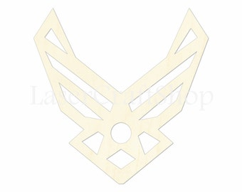 "2"" - 34"" Air Force Logo Wooden Cutout Shape, Silhouette, Gift Tags Ornaments, Room Decoration, Laser Cut Unfinished Wood,  #1193"