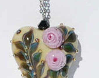 """Needle Threader - Necklace - 35"""" - Pink Rose - Floral Heart - Glass - Lampork - Cross Stitching - Embroidery - Sewing - Quilting"""