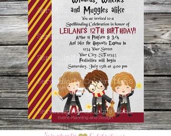 Printed Birthday Invitation, Harry Potter, Harry Potter Invite, Hogwarts Invitation, Harry Potter Invitation, Harry Potter Birthday Invite