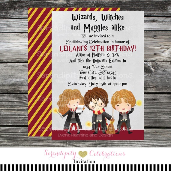 Printed Birthday Invitation Harry Potter Harry Potter