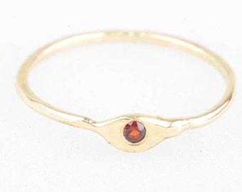 Garnet, yellow gold, friendship ring, engagement ring
