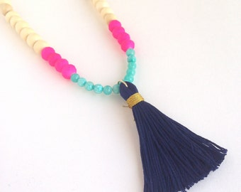 Handmade Navy Tassel Necklace- THE CELIA Neon Pink and Turquoise Accent Beads, Cream Wood Beads, Gift For Her, Holiday Gift, Teen Girl Gift