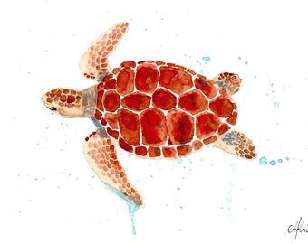 Watercolour print turtle A5