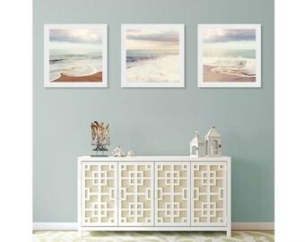 Beach Wall Art Print Set, Art For Bathroom, Ocean Wall Decor, Beach House Decor, Beach Triptych Wall Art, Beach Photography, Beach Wall Art