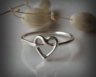 Heart Knot Ring - love knot ring - Infinity Heart ring - Celtic heart knot ring - Sterling Silver 925 - Jewelry by Katstudio