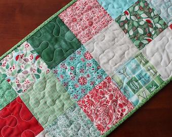 Christmas Table Runner, Evergreen Table Runner, Quilted Christmas Table Runner, Handmade Table Runner, Red Green White Blue, Snowflake, Moda