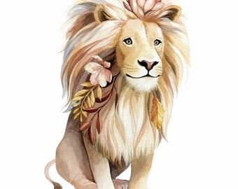 Lion with flowers in its hair Illustration - Safari Animal Nursery Art - Lion Watercolour Print - Art by Alicia's Infinity