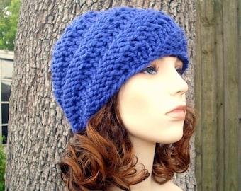 Knit Hat Blue Mens Hat Blue Womens Hat - Swirl Beanie in Cobalt Blue Knit Hat - Blue Hat Blue Beanie Womens Accessories Winter Hat
