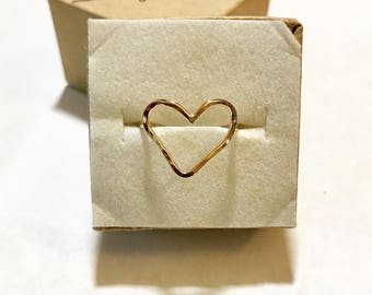 Heart Ring, Open Heart Ring, Gold Heart Ring, Rose Gold Heart Ring, Sterling Silver Heart Ring, Love Ring, Hammered Heart Ring, Summer Ring