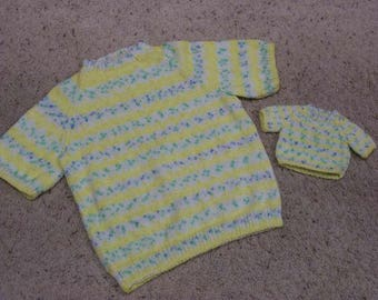 CLEARANCE Me and My Doll Matching Sweaters Child's Sweater is a Size 10 - 12 and the Doll Sweater is for a 15 or 18 Inch Doll