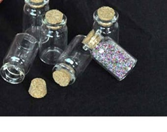 28 - Set of 2 4.5 cm glass jars, 22 mm in diameter, bottle empty