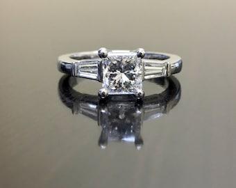 Three Stone Platinum Princess Cut Diamond Engagement Ring - Art Deco Platinum Diamond Wedding Ring - Princess Cut Three Stone Diamond Ring