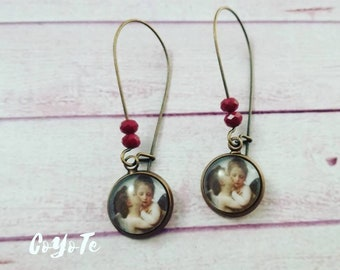 Pendant earrings, first kiss glass cabochon, cameo earrings, gift idea