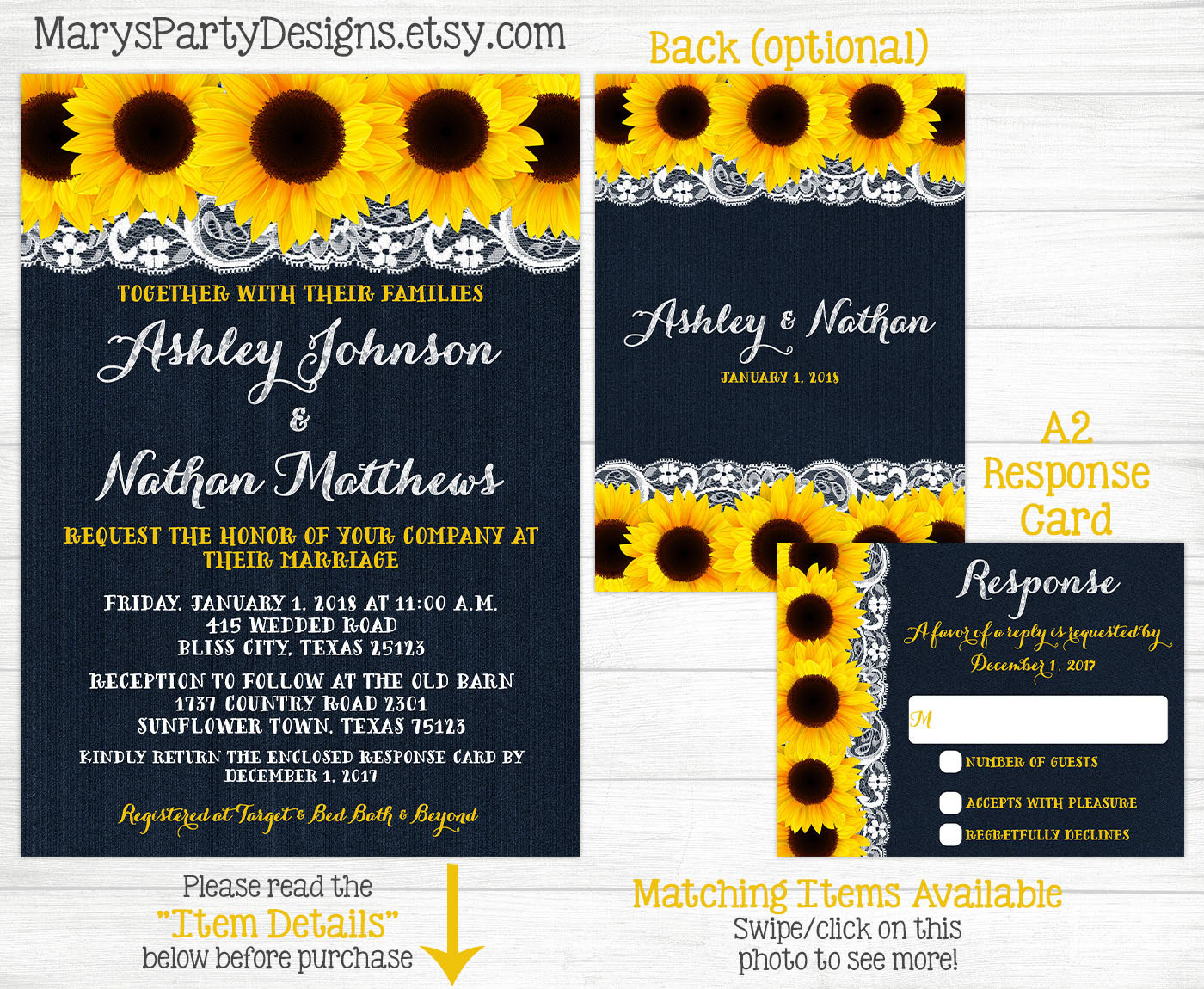 Denim Wedding Invitations: Sunflower Wedding Invitation Lace Denim Navy Blue Wedding