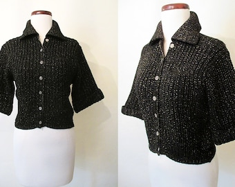 """Adorable 1950's Lurex  Black & Gold  Cropped Knit Wool Sweater by """"Rosanna"""" Rockabilly VLV Pinup Sweater Girl Vixen Size-Small-Medium"""