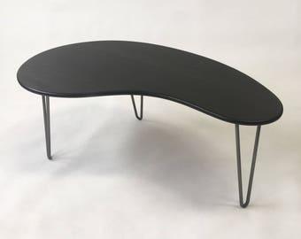 Black Mid Century Modern Coffee Table - Kidney Bean Shaped - Atomic Era Biomorphic Boomerang Design In Dyed Bamboo