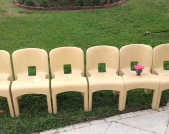 KARTELL UNIVERSALE CHAIRS / One pair of Kartell Chairs by Joe Colombo Modernist Chairs/ 1 pair avail / Stackable Chairs Retro Daisy Girl