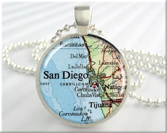 San Diego Map Pendant, Resin Charm, San Diego California, Map Necklace, Picture Jewelry, Gift Under 20, Round Silver 217RS
