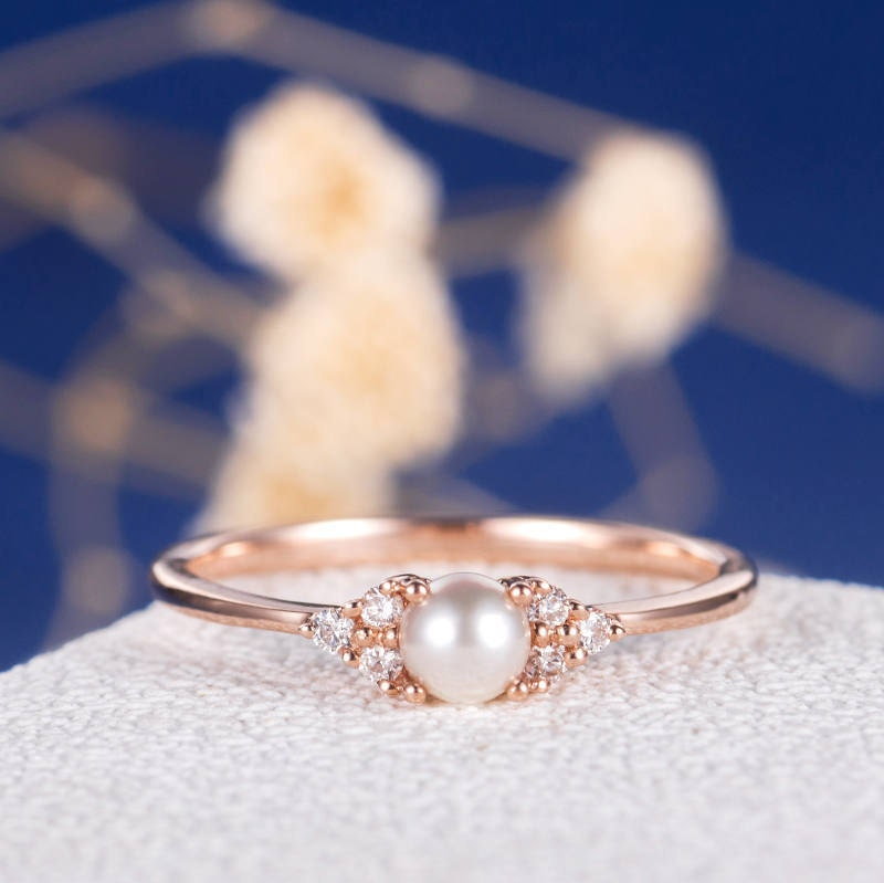 Pearl Engagement Ring Rose Gold Promise Antique Cluster Women