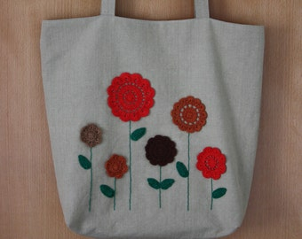 Crochet Flowers Linen Tote Bag