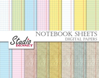Notebook Digital Papers, School Papers, Printable Papers Back to School, Teacher, Student Patterns A286