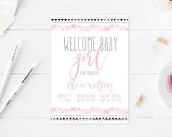 Baby Shower Invitation, Boho Baby Shower Invitations, Girl Baby Shower Invite, Boho Girl Baby Shower Invitation, Welcome Baby Girl [517]