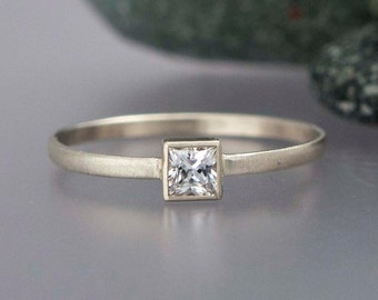 Square White Sapphire Engagement Ring in solid 14k white or yellow gold - Princess Cut Diamond alternative