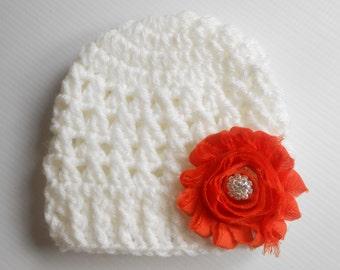 Baby hat, Baby girl Hat, Baby girl Beanie, Baby Newborn Hat, Newborn Beanie, Crochet Baby Hat,  white hat , Baby girl, Newborn Hat