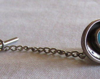 Sterling Silver and Turquoise Tie Tack