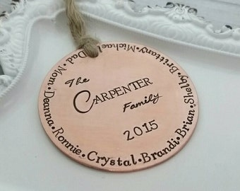 Personalized family Christmas ornament - round 2 inch copper ornament