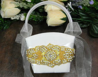 Gold Flower Girl Basket, White or Ivory Flower Girl Basket, Wedding Flower Basket, Pearl and Rhinestone Flower Baskets, Gold Glam Weddings