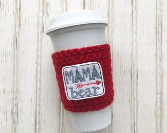 MAMA BEAR Cup Cozy, reusable coffee sleeve, mason jar cozy, teacher gifts, mother's day gift, party favors