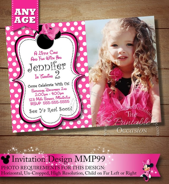 May The 4th Be With You Invitations: Items Similar To HUGE SELECTION Minnie Mouse Birthday