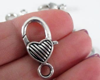 Antique Silver Heart Shaped Lobster Clasp - Large Silver Metal Lobster Clasp - Diy Jewelry - Bracelet Findings - 26mm - 8 pcs - Bulk Option