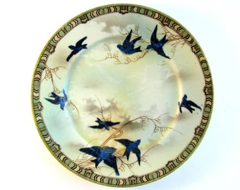 Beautiful Japanese Plate, Blue Birds Flying Against the Sky, Vintage