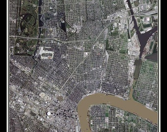 New Orleans Louisiana Satellite Poster Map
