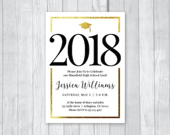 Graduation Party 5x7 Custom Personalized Printable Invitations - Gold Foil Look - College or High School - Class of 2018 - You Print