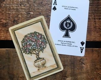 Vintage Rose Bush Playing Card Deck - Full Deck - Paper Ephemera, Vintage Scrapbook, Vintage Playing Cards, Vintage Rose Card, Deck of Cards