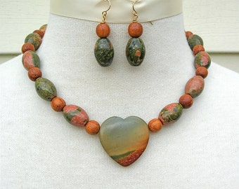 "Southwest Landscape Heart, Picasso Jasper, Unikite & Wood Beads, ""Unsweetened"" Heart Necklace Set by SandraDesigns"