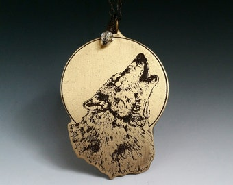Howling wolf, full moon, wolf necklace, wolf pendant, wolf and moon, howling wolf jewelry, howling wolf pendant, wolf jewelry, full moon art
