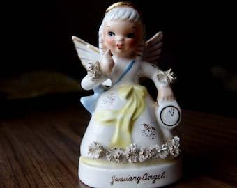 Vintage Super Cute January Napco Angel Girl - Birthday Cake Topper