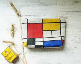 Piet Mondrian Make up Bag Mom Gifts Zipper Pouch Art Makeup Case Gifts for her Hand Painted Cosmetic Bags Cute Makeup Bags Girlfriend Gift